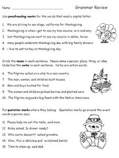Thanksgiving Grammar Review Worksheet for Second Grade--language arts freebie