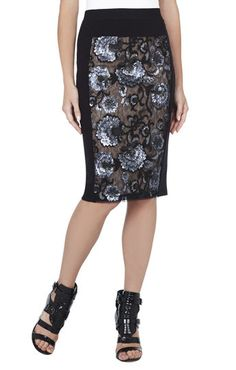 Aideen Floral Sequined Pencil Skirt