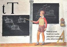 Učení o české abecedě Vše česky   od Tres Bohemes Alphabet Words, Alphabet Print, School Posters, Textbook, Everything, Teaching, Retro, Letters, Activities
