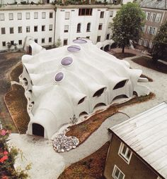 The Dining Hall at the Franciscan Sisters' boarding school in Graz, Austria by Günther Domenig and Volker Giencke - 1975-77. Simply stunning, like an organic alien structure.