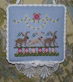Just Nan bunny cross stitched ornament with lace detail