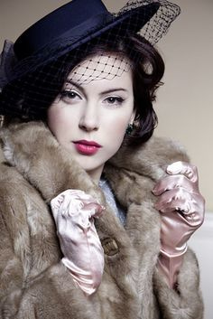 Essential 1940's wardrobe items.. hat, fur, and gloves