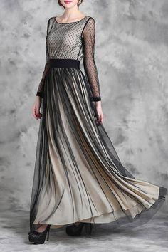 Voile Spliced Long Sleeve Maxi Dress