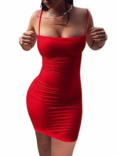 5be5575c006 BEAGIMEG Women s Sexy Spaghetti Strap Sleeveless Bodycon Mini Club Dress  Polyester and Spandex Stretch fabric Club