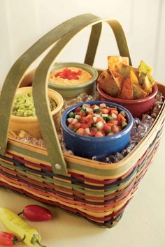 Place taco fixings in colorful Woven Traditions soup and salad bowls.