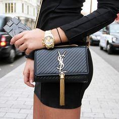 YSL black & gold clutch bag