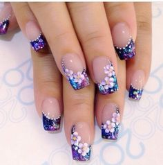 Flower Nail Designs, Flower Nail Art, Acrylic Nail Designs, Nail Art Designs, Acrylic Nails, Elegant Nails, Stylish Nails, Trendy Nails, Purple Nail Art
