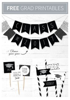 Looking for the perfect touches to tie your graduation party together? Jazz up your party using our free printable décor suite. #freeprintable #printabledecor #printablebanner #graduation #graduationdecor