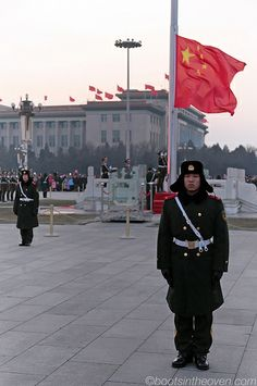 And the flag comes down; Tiananmen Square, Beijing, China.