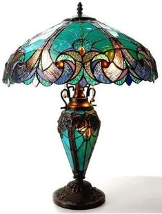 Chloe Lighting Liaison Tiffany-Style Victorian 3 Light Double Lit Table Lamp with Shade, x 18 x Multicolor -- More info could be found at the image url. (This is an affiliate link) Stained Glass Lamps, Mosaic Glass, Chandeliers, Arte Art Deco, Lampe Retro, Design Light, Louis Comfort Tiffany, Tiffany Glass, Tiffany Art