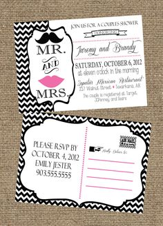 5x7 Couples Wedding Shower Invitation Postcard (front and back). $15.00, via Etsy.