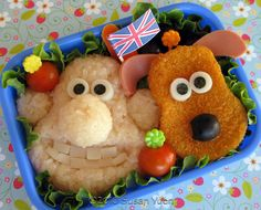 "From ""32 Creative and Interesting Bento Boxes"": Wallace and Gromit!   How-to: http://susanyuen.wordpress.com/2010/06/11/wallace-and-gromit-bento-96/"