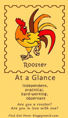 The Rooster symbolizes such character traits as confidence, pompousness and motivation. Those born under the Chinese Zodiac sign of the Rooster are loyal, trustworthy individuals who are blunt when it comes to offering their opinions. Their bluntness stems not from being mean but from being honest; a trait which Roosters expect from others.