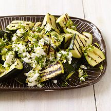 Grilled Zucchini with Lemon-Herb Feta: Grilled zucchini gets an amazing flavor boost from a tangy feta topping. Serve with whole wheat couscous and grilled shrimp for a light summer meal.