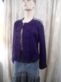 Size Large Vintage Womens Black Cropped Jacket by LandofBridget