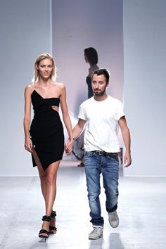 Anja Rubik and Anthony Vaccarello at his Spring 2014 Ready-to-Wear Collection. Punk Fashion, Fashion Week, Runway Fashion, Spring Fashion, Fashion Show, Fashion Design, Paris Fashion, Seoul Fashion, Anja Rubik