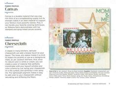 From Creating Keepsakes - some great ideas for using fabric on layouts