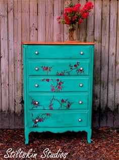 Cherry Blossom stencil on dresser by Michele Hiley | Royal Design Studio