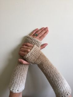 Fingerless Gloves Beige and Tan Hand Warmers Arm by SimonKnits
