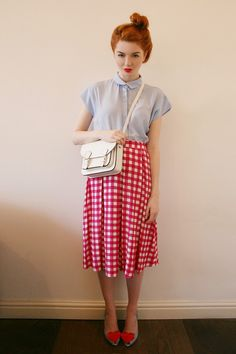 shirt, gingham midi skirt, heels.
