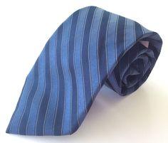 Calvin Klein Neck Tie Blue White Striped 100% Silk #CalvinKlein #NeckTie
