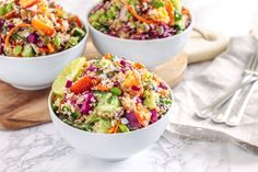 Boring lunches? This is the fix! This Coconut Lime Quinoa Salad is a great make-ahead big-batch recipe that will take your tastebuds to the beach on gloomy days.