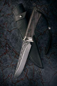 """Нож """"Сумрак"""" (морёный дуб, дамаск каменный век)"""