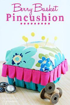 DIY pincushion tutorial using berry baskets from apumpkinandaprincess.com