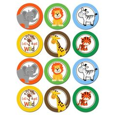 Jungle Cupcake Toppers - Instant Download - Small Party Circles - Safari, Jungle, Zoo- Jungle Collec Jungle Cupcakes, Animal Cupcakes, Safari Theme Birthday, Animal Birthday, Safari Party Decorations, Disney Cars Party, Jungle Party, Jungle Safari, Cupcake Toppers
