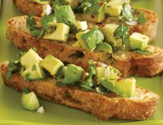 Avocado Chimichurri Bruschetta: Talk about a fusion of world cuisines! Cubes of avocado are folded into chimichurri—an Argentinean sauce made of chopped parsley, cilantro, garlic, vinegar, and oil—to create a Latin variation on bruschetta, a classic Italian starter. Avocado Chimichurri Bruschetta, 3.6 out of 4 based on 10 ratings