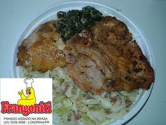 Prato do dia: Bisteca de porco, frango assado ao forno, refogado de repolho, bolinho de espinafre, arroz com feijão mais salada.