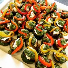Christmas in July inspired Christmas colours with roasted zucchini, basil pesto, whipped goats cheese and roasted capsicum Good Healthy Recipes, Delicious Vegan Recipes, Whole Food Recipes, Healthy Food, Vegan Vegetarian, Vegetarian Recipes, Vegan Food, Thanksgiving Recipes, Holiday Recipes
