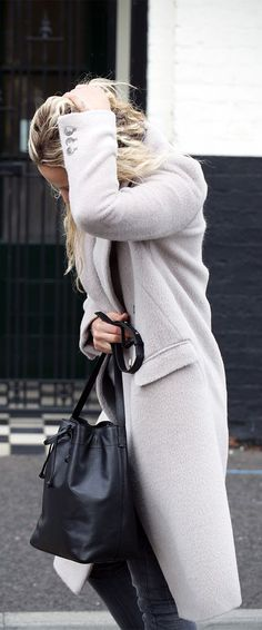 Street Style: We love Anouk Yve's pale grey brushed wool coat from Iris & Ink...   Style Inspiration