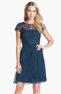 Adrianna Papell Lace & Tiered Chiffon Dress (Regular & Petite) | Nordstrom $130.80 reg. $218