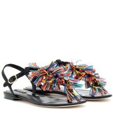 Dolce & Gabbana - LEATHER SANDALS WITH MULTICOLOURED TASSELS  - mytheresa.com GmbH