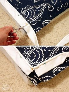 Good tutorial for sewing a bench cushion with piping and velcro closures