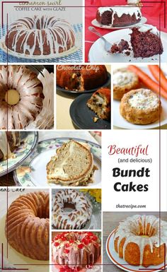 10 delicious Bundt Cake recipe for any occasion: red velvet cake, coffee cake, lemon cake, carrot cake, pumpkin spice cake, gluten free cake, vegan cake and more.