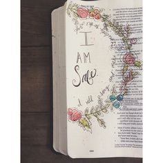 Psalm 27 journaling Bible entry with pale flower wreath, beautiful and simple. #journalingBible  #illustratedfaith