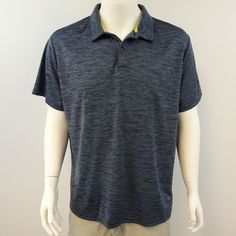 FREE COUNTRY Men's Size 2XL Gray POLO Golf Stripe Shirt Ultimate Comfort M293  #FreeCountry #PoloRugby