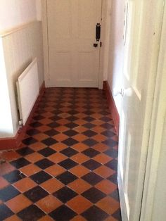 Colour Restored to a Faded Black and Red Quarry Tiled Floor in Welton - Northamptonshire Tile Doctor Tiled Hallway, Hallway Flooring, Entry Hallway, Quarry Tiles, Travertine Tile, Red Tiles, Black Tiles, Red Floor, Black Floor