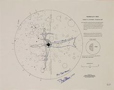 """Tranquility Base: Surface and Experiment Locations Map, Apollo 11 Mapping Sciences Laboratory, 1970. Annotated """"My Footprints!"""" and signed Buzz Aldrin."""