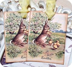 NEW  Vintage Bunny with Baby Chicks Tags  by LittlePaperFarmhouse
