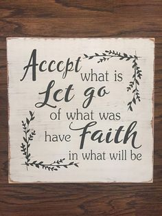 Accept What Is Sign Faith Sign Inspirational Sign Rustic Fixer Upper Decor, Distressed Signs, Inspirational Signs, Painted Letters, Painted Wooden Signs, Pallet Signs, Diy Pallet, Pallet Projects, Diy Projects