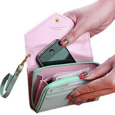 Raccoglitori della signora di modo di cuoio delle donne della borsa della frizione portafoglio breve supporto di carta del sacchetto del telefono per il iphone 4 5 6 6 s