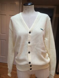 Retro Style Golf Cardigan Sweater-White by PDeeVintage on Etsy