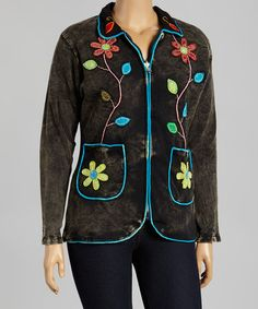 Love this Black & Blue Floral Patchwork Blazer - Plus by Rising International on #zulily! #zulilyfinds