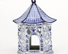 Sweet, vintage ceramic blue & white pagoda birdhouse