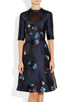 Erdem|Liza embroidered sateen-twill dress