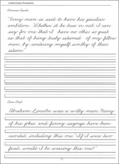 presidents worksheets | 44 United States Presidents Character Writing Worksheets Zaner-Bloser ... #handwritingworksheets