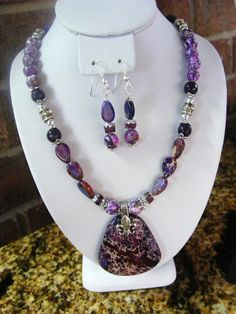 Purple Sea Sediment Jasper, Turquoise, Amethyst Necklace Set
